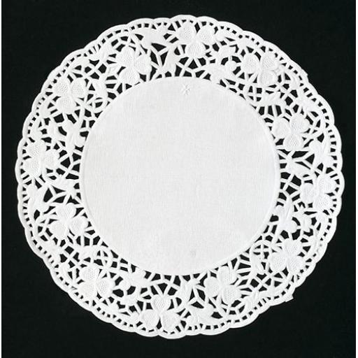 "9.5"" White Paper Doilies - 24cm Round Lace Doyleys"