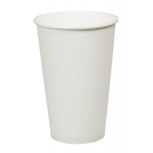16oz White Paper Cups Single Wall Disposable Tea Coffee Cappuccino Espresso Hot Drinks