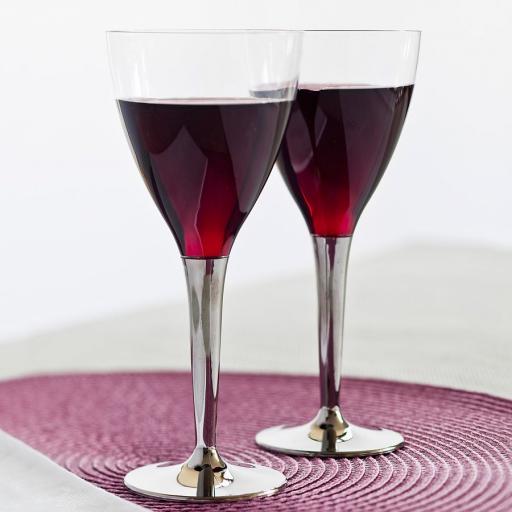 130ml Sabert Mozaik Silver Stem Clear Plastic Wine Cups Glasses - Disposable Reusable