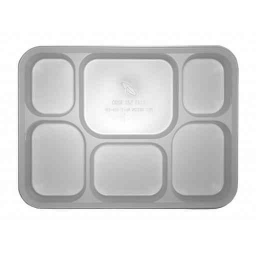 "6 Section Compartment Punjabi White Plastic Disposable Thali Food Trays 12"" x 9"" - Dinner Plates For Indian Events"