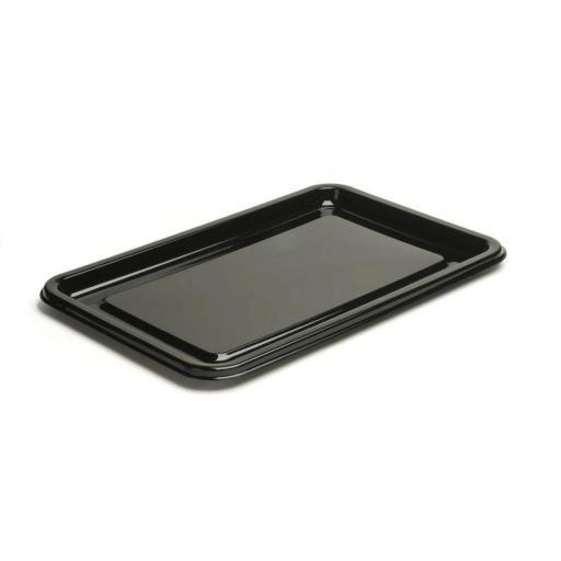 Sabert Medium Black Plastic Rectangle Serving Buffet Platters - 46x30cm