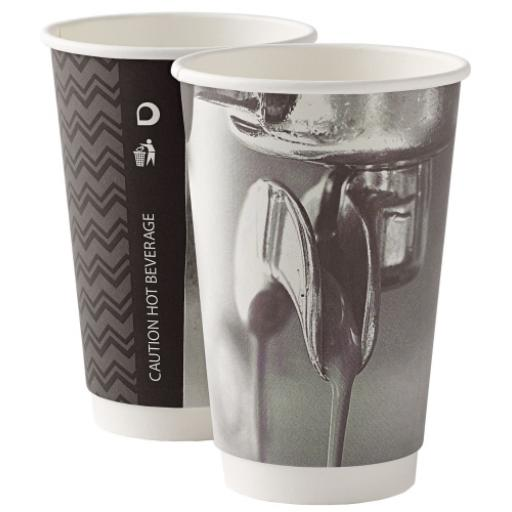 16oz Double Wall Barista Paper Coffee Cups 2 Ply Insulated For Tea Espresso Hot Drinks