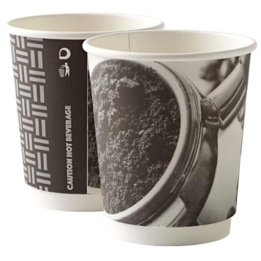 8oz Double Wall Barista Paper Coffee Cups 2 Ply Insulated For Tea Espresso Hot Drinks