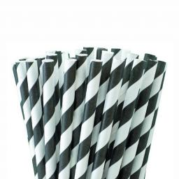 Black Striped Paper Drinking Straws - Biodegradable Eco Recyclable - 200mm x 6mm
