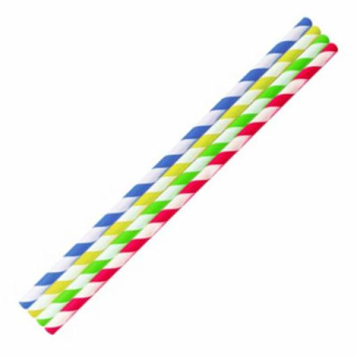 Multi-Coloured Striped Paper Drinking Straws- Biodegradable Eco Recyclable - 200mm x 6mm