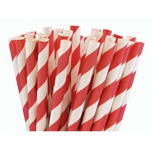 Red Striped Paper Drinking Straws- Biodegradable Eco Recyclable - 200mm x 6mm