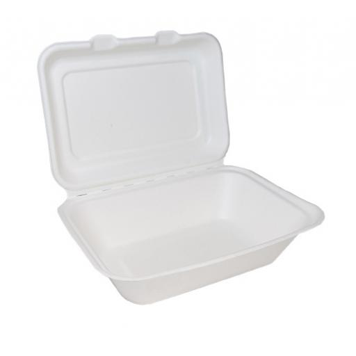 "White Paper Lunch Box 7x5"" Single Compartment Containers - Biodegradable Bagasse Sugarcane"