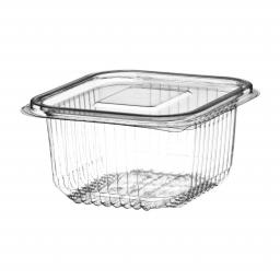375cc Clear Plastic Salad Containers with Hinged Lids - Leakproof Rectangle Box