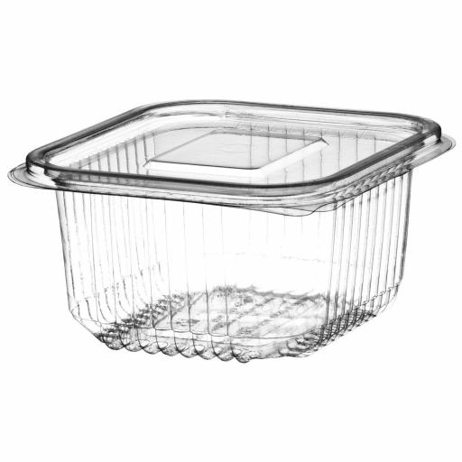 500cc Clear Plastic Salad Containers with Hinged Lids - Leakproof Rectangle Box