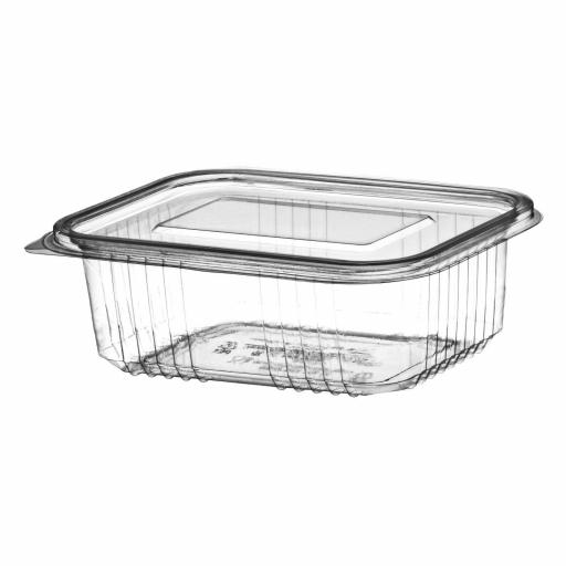 750cc Clear Plastic Salad Containers with Hinged Lids - Leakproof Rectangle Box