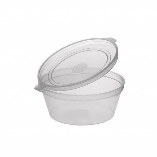 2oz Round Hinged Clear Plastic Portion Pots Deli Containers with Lids for Sauce Chutney Dips