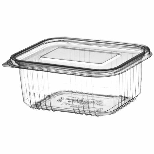 1000cc Clear Plastic Salad Containers with Hinged Lids - Leakproof Rectangle Box