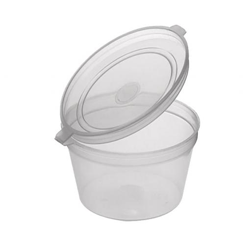 4oz Round Hinged Clear Plastic Portion Pots Deli Containers with Lids for Sauce Chutney Dips