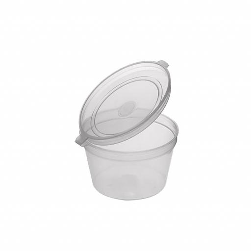 1oz Round Hinged Clear Plastic Portion Pots Deli Containers with Lids for Sauce Chutney Dips