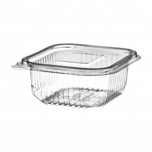 250cc Clear Plastic Salad Containers with Hinged Lids - Leakproof Rectangle Box