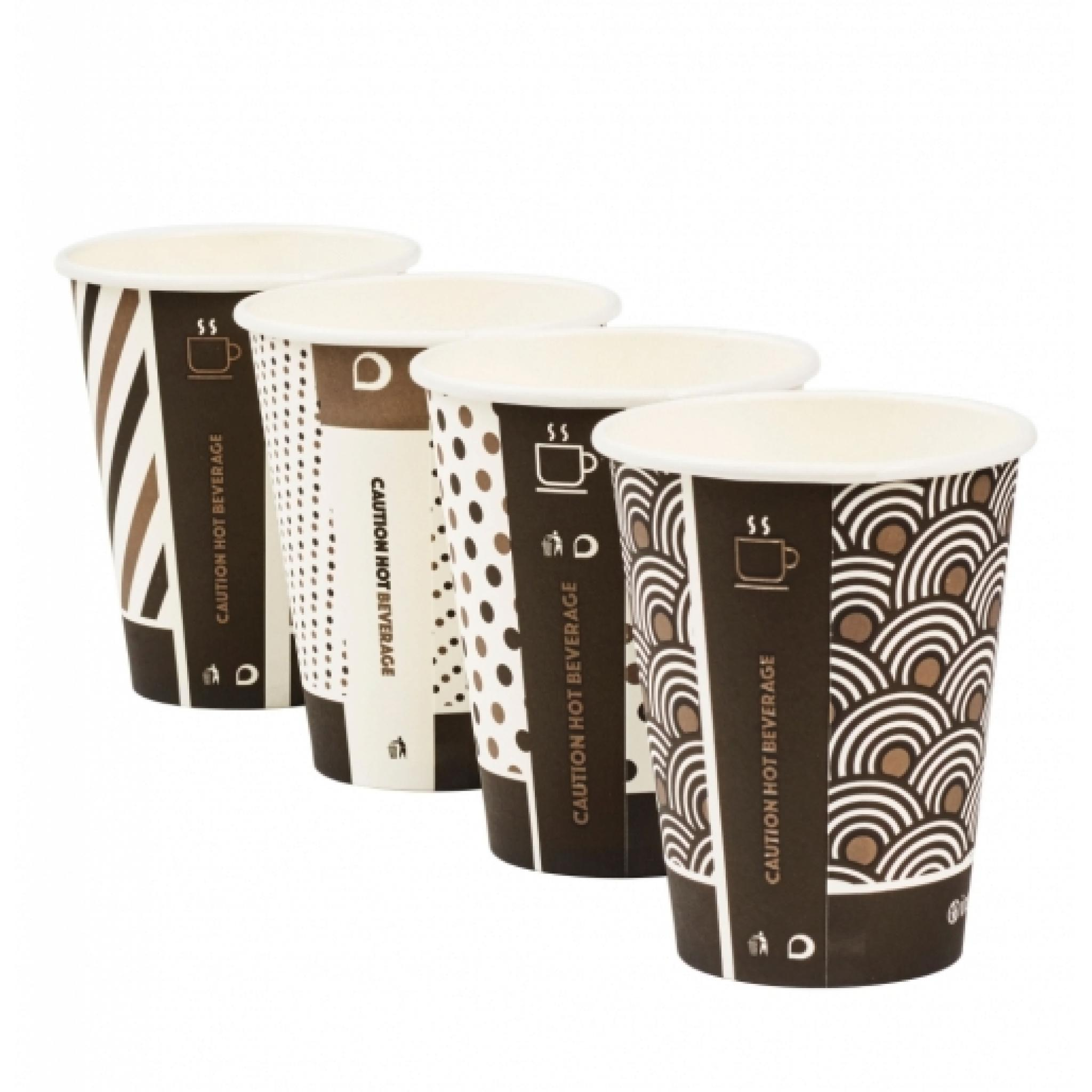 Pack of 50 Eco Friendly Drinks Cups 8oz Mixed Design Bamboo