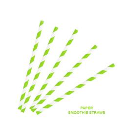 Green Striped Paper Smoothie Drinking Straws - Biodegradable Eco Recyclable - 200mm x 9mm