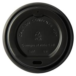 Compostable CPLA Lids 8oz Black Sip-Though - Fit Compostable Bamboo Paper Coffee Cups Disposable