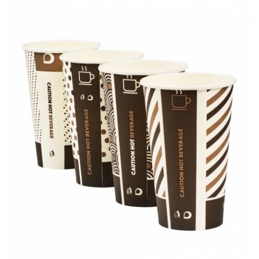 16oz Compostable Bamboo Mixed Design Coffee Cups CPLA Single Wall Disposable Tea Cappuccino Hot Drinks