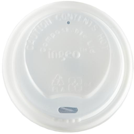 Compostable CPLA Lids 12oz-16oz White Sip-Though - Fit Compostable Bamboo Paper Coffee Cups Disposable