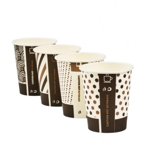 8oz Compostable Bamboo Mixed Design Coffee Cups CPLA Single Wall Disposable Tea Cappuccino Hot Drinks