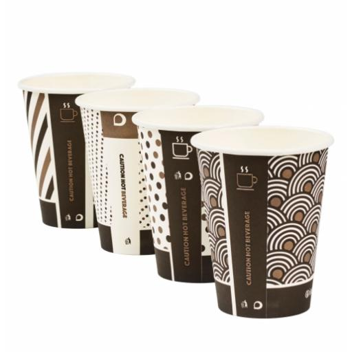 12oz Compostable Bamboo Mixed Design Coffee Cups CPLA Single Wall Disposable Tea Cappuccino Hot Drinks