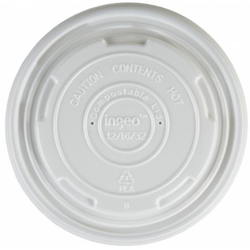 Ingeo 12oz / 16oz CPLA Lids to Fit Compostable Soup Containers - Medium and Large