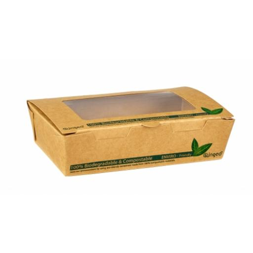 1200ml PLA Compostable Tuck Top Brown Kraft Window Salad Boxes Containers