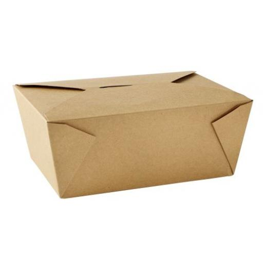 No4 Brown Kraft 98oz Square Paper Food Containers - Hot Rice Curry Takeaway Boxes