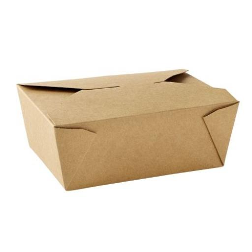 No8 Brown Kraft 46oz Square Paper Food Containers - Hot Rice Curry Takeaway Boxes