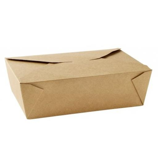 No3 Brown Kraft 69oz Square Paper Food Containers - Hot Rice Curry Takeaway Boxes