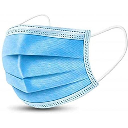 3-ply Blue Disposable Pleated Face Mask With Elasticated Ear Loop - PPE