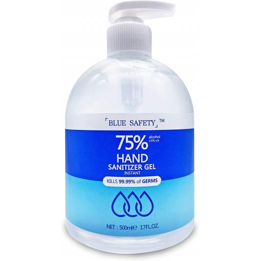 Instant Hand Sanitizer Gel Antibacterial 75% Alcohol - 500ml Pump Bottle PPE