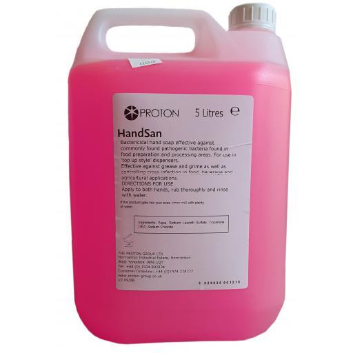 Proton HandSan Pink Antibacterial Hand Wash Soap - Food Hygiene Safe - 5L