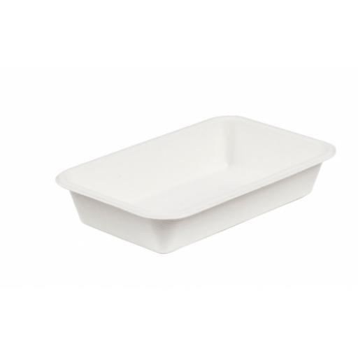 "White Bagasse Paper C3 Deep Food Tray 8.5x5"" - Compostable Sugarcane"