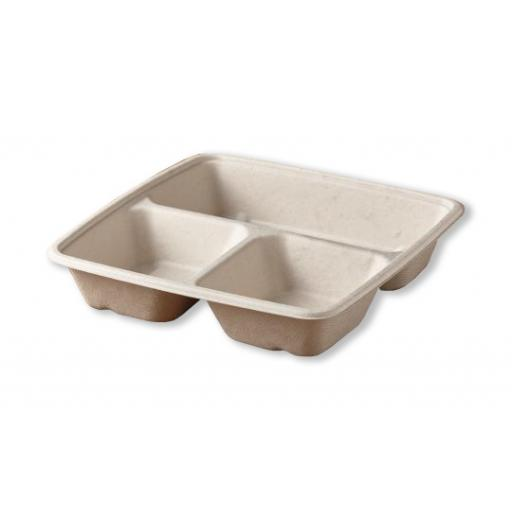 BePulp 3 Compartment Bagasse Paper Meal Box Container 23x23cm - PUL49348
