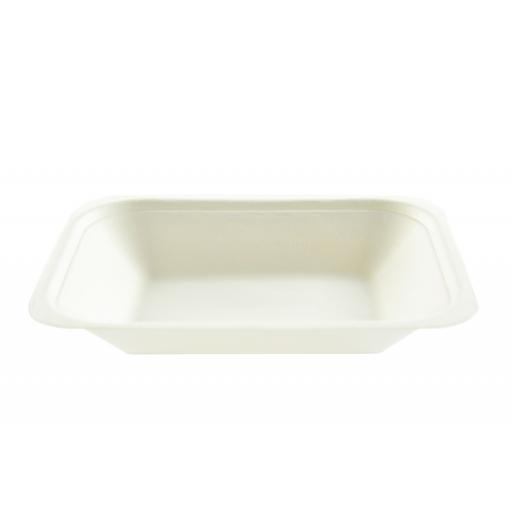 "White Bagasse Paper C2 Chip Tray 7x5"" - Compostable Sugarcane"