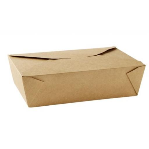 No6A Brown Kraft 25oz Square Paper Food Containers - Hot Rice Curry Takeaway Boxes