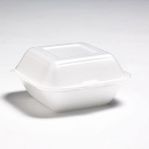 "FP6 White 5.5"" Burger Box Foam Polystyrene Containers (HP6)"