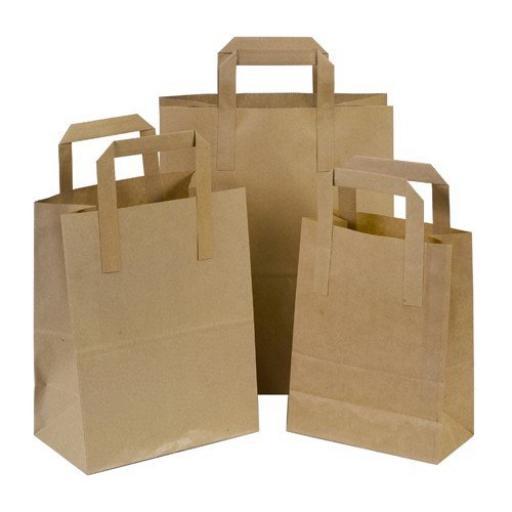 250 x Brown Large SOS Kraft Paper Bags Tape Handle Carrier Takeaways